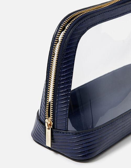 Large Clear Make Up Bag , Blue (NAVY), large