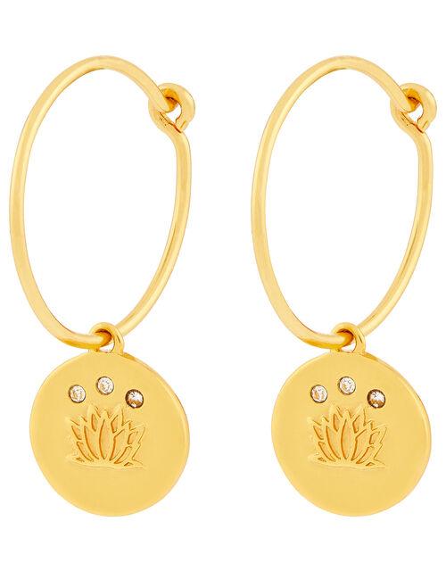 Gold-Plated Lotus Flower Huggie Hoop Earrings, , large