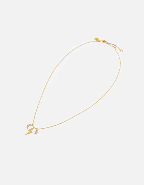 Gold-Plated Celestial Cluster Charm Pendant Necklace, , large