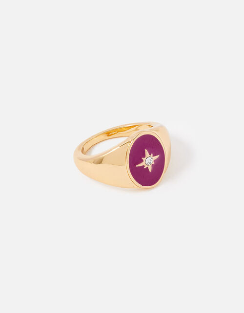 New Decadence Star Signet Ring, Pink (PINK), large
