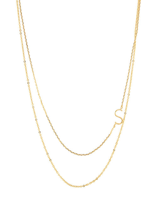 Gold-Plated Double Chain Initial Necklace - S, , large