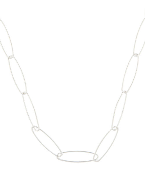 Sterling Silver Long Link Chain Necklace, , large