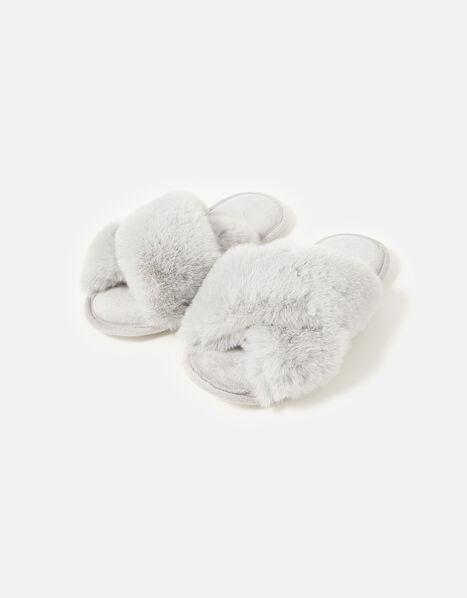 Luxe Faux Fur Sliders Grey, Grey (GREY), large