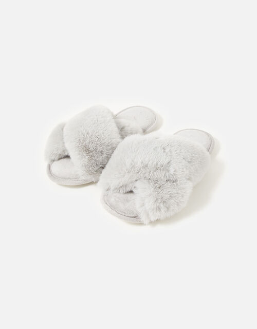 Luxe Faux Fur Sliders, Grey (GREY), large