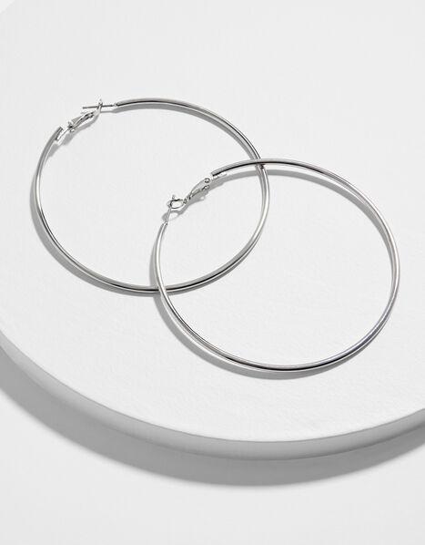 Medium Simple Hoop Earrings Silver, Silver (SILVER), large