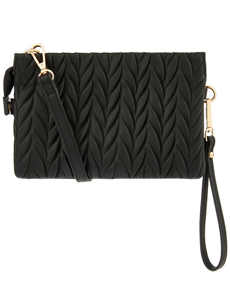 Paige Pleated Cross-Body Bag Black, Black (BLACK), large