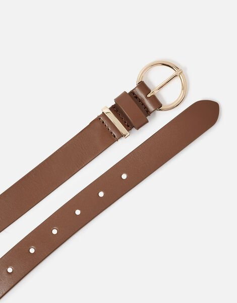 Round Buckle Leather Jeans Belt Tan, Tan (TAN), large