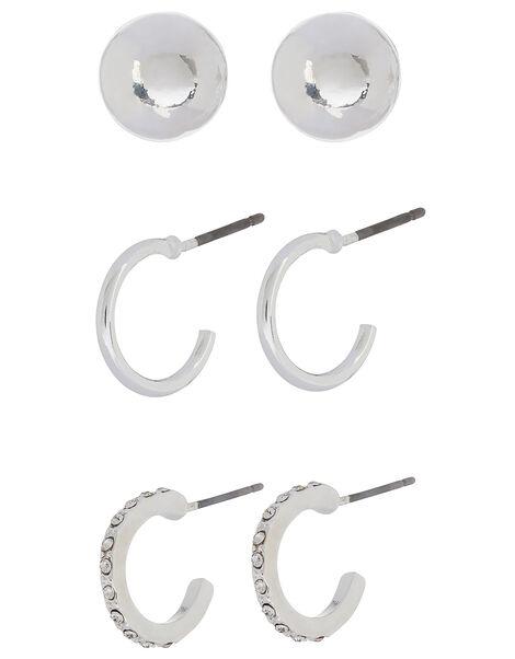 Sparkle Mini Hoop and Stud Earring Set, , large