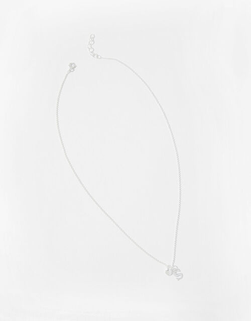 Sterling Silver Heart Initial Necklace - S, , large