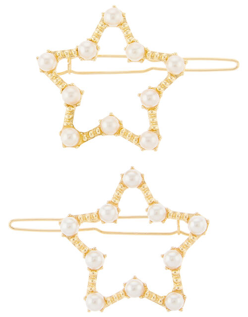 Pearly Star Hair Clips, , large