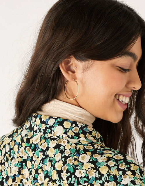 Gold-Plated Medium Hoop Earrings, , large