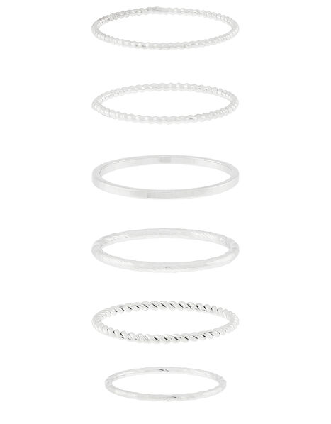 Platinum-Plated Stacking Ring Set Silver, Silver (SILVER), large