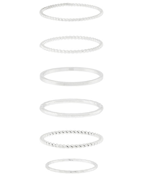 Platinum-Plated Stacking Ring Set, Silver (SILVER), large