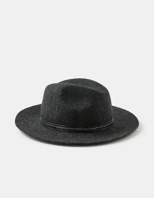 Chain Trim Fedora in Pure Wool, Black (BLACK), large