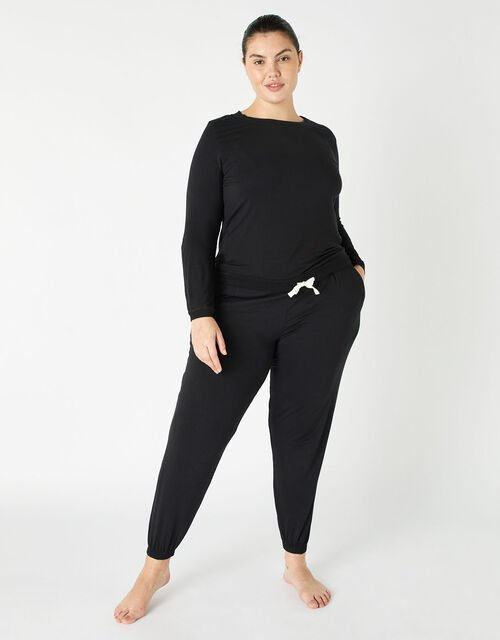 Full-Length Jersey Lounge Set, Black (BLACK), large