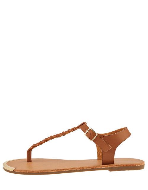 Plaited Strap Sandals, Tan (TAN), large