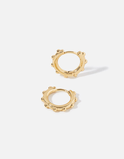 Gold-Plated Bobble Huggie Hoops, , large