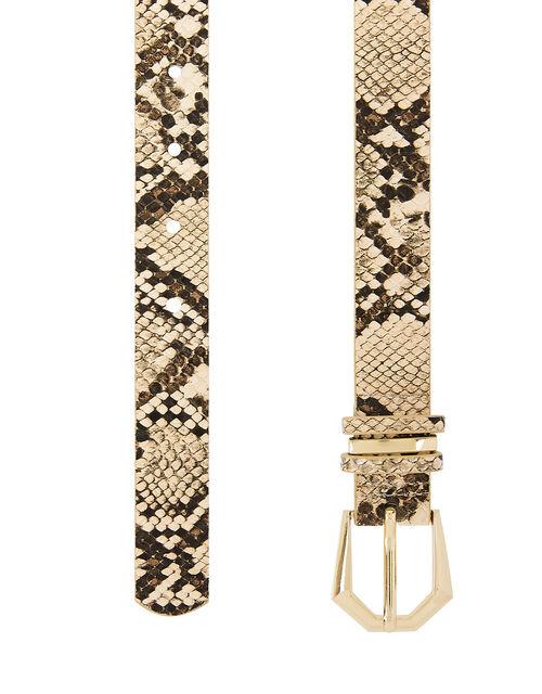 Snake Print Belt, Nude (NUDE), large