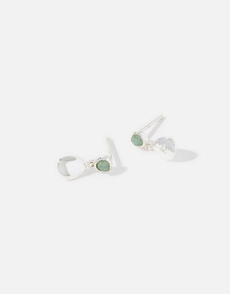 Sterling Silver Aventurine Pebble Drop Earrings, , large