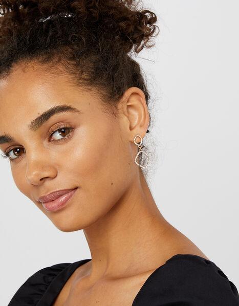 Pavé Organic Oval Drop Earrings, , large