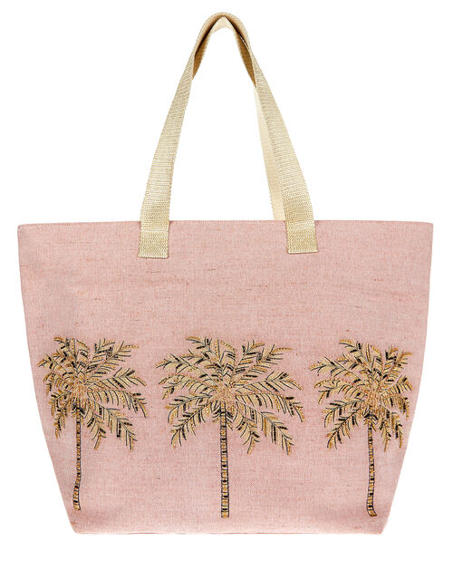 Beaded Palm Tree Tote Bag, , large