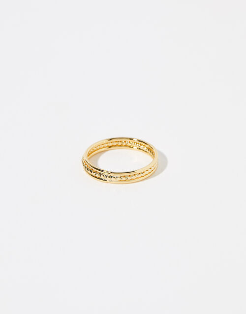 Gold-Plated Rope Band Ring, Gold (GOLD), large