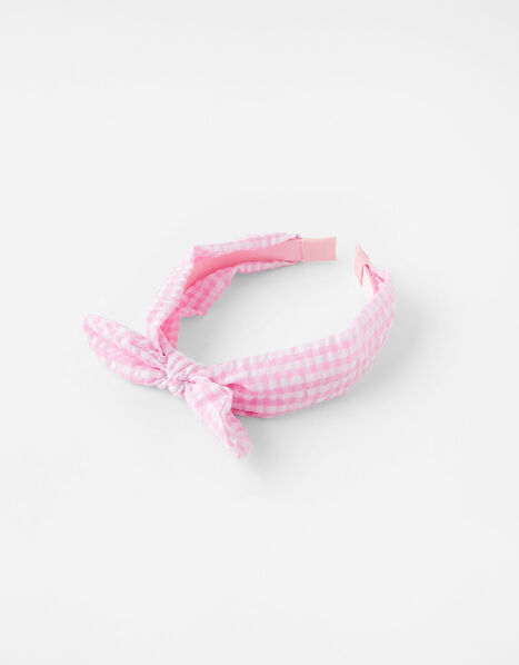 Gingham Bow Headband, , large