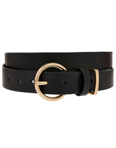 Round Buckle Leather Belt Black, Black (BLACK), large