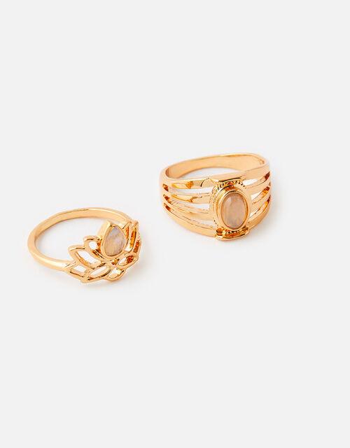 Lotus and Stone Ring Set, Pink (PINK), large