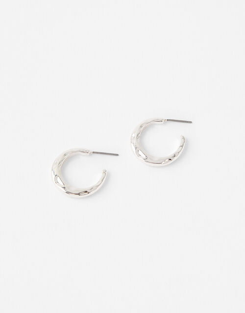 Small Textured Hoop Earrings, , large