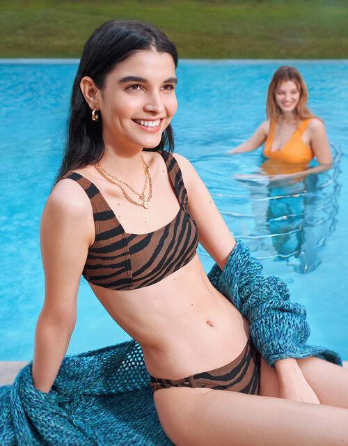 Tiger Square Neck Bandeau Bikini Top, Orange (RUST), large