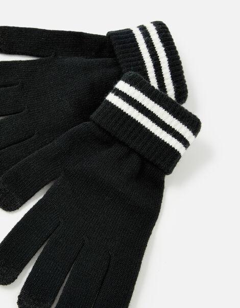 Varsity Stripe Touchscreen Gloves Black, Black (BLACK), large