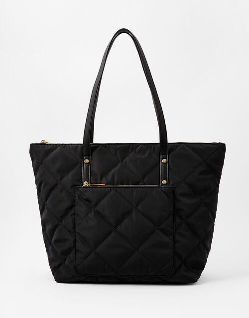 Tilly Quilted Tote Bag, Black (BLACK), large