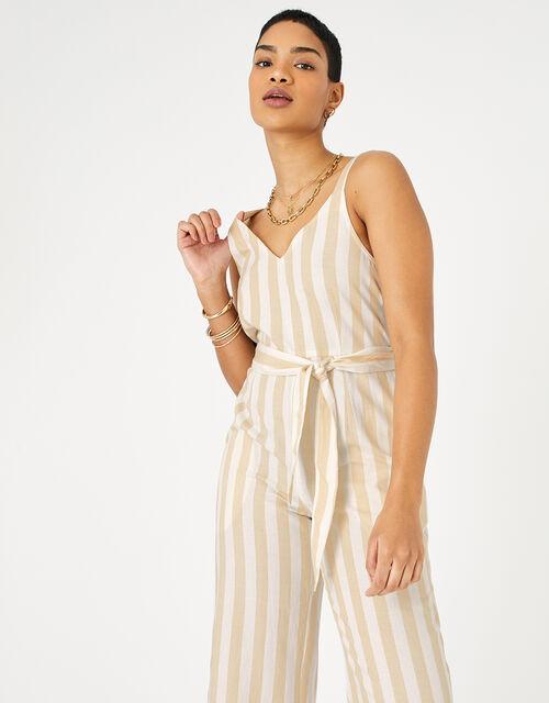 Stripe Belted Jumpsuit, Cream (CREAM), large