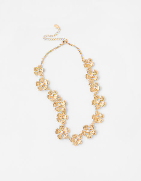 Pearl and Metal Flower Collar Necklace, , large