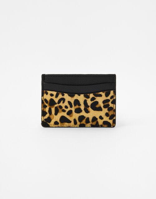 Suki Leopard Leather Card Holder, , large