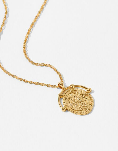 Gold-Plated Amulet Coin Necklace, , large