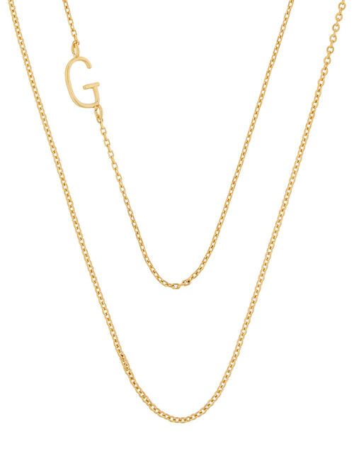 Gold-Plated Double Chain Initial Necklace - G, , large
