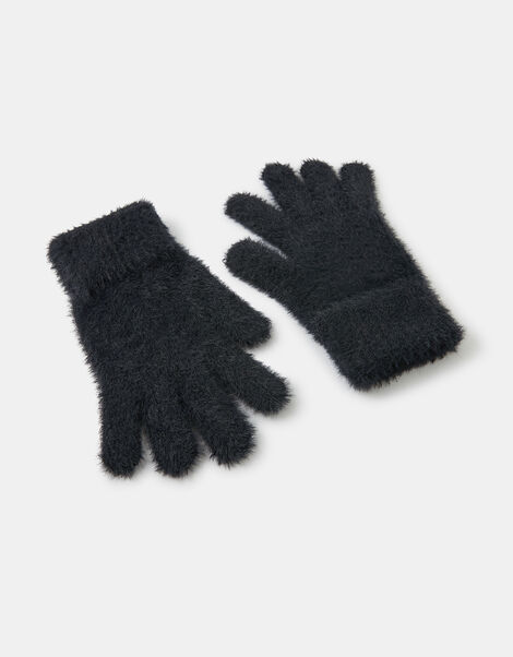 Super-Stretch Fluffy Knit Gloves Black, Black (BLACK), large