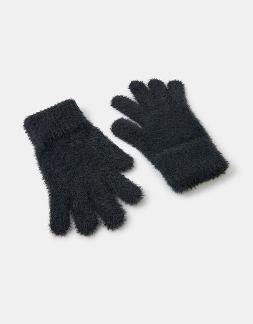 Super-Stretch Fluffy Knit Gloves, Black (BLACK), large