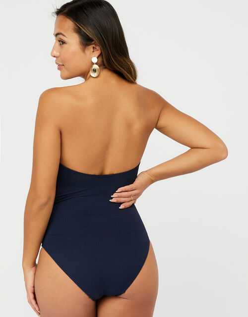 Bobbi Bandeau Swimsuit with Detachable Straps, Blue (NAVY), large