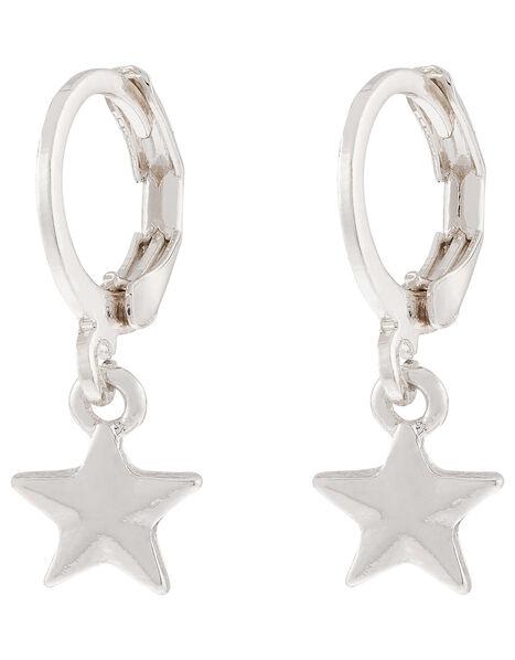 Star Charm Huggie Hoop Earrings, , large