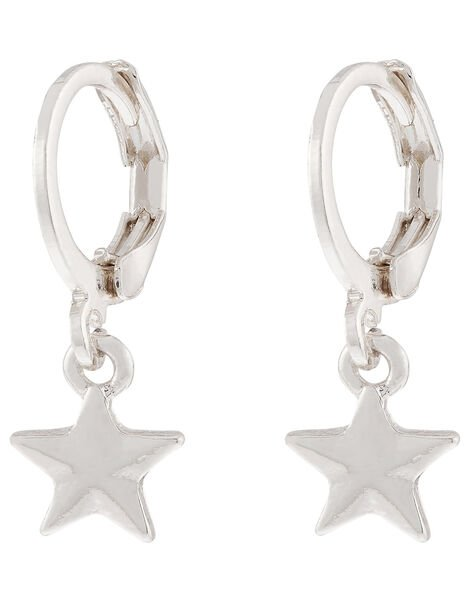 Star Charm Huggie Hoop Earrings, , large