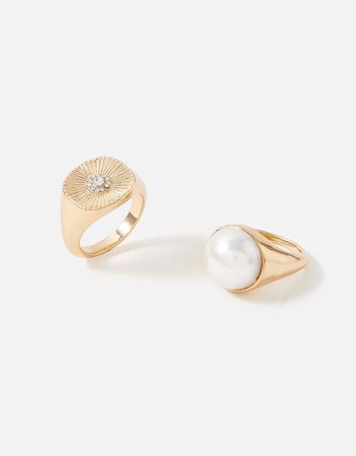 Signet Ring Set, Cream (PEARL), large
