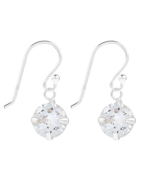 Sterling Silver Drop Earrings with Cubic Zirconia, , large