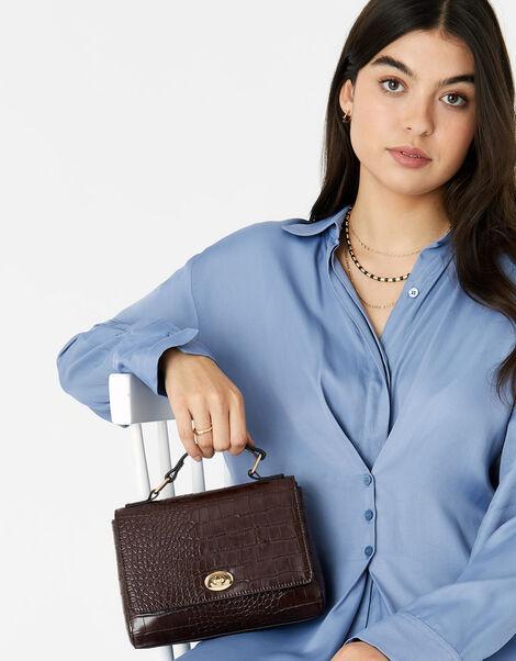 Jessica Croc Handheld Bag Brown, Brown (CHOCOLATE), large