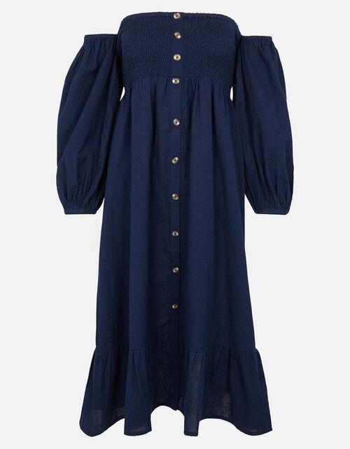 Bardot Maxi Dress in Linen Blend, Blue (NAVY), large