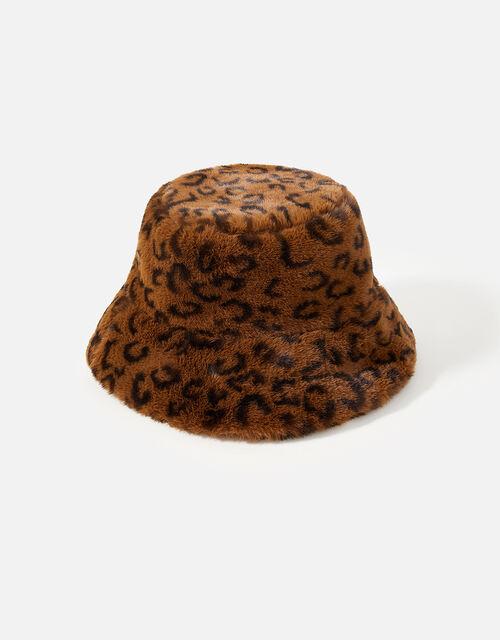 Leopard Luxe Faux Fur Bucket Hat, , large