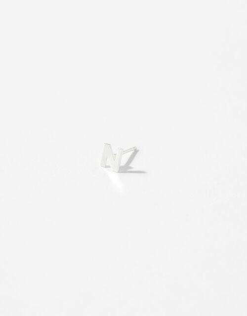 Sterling Silver Initial Stud Earrings - N, , large