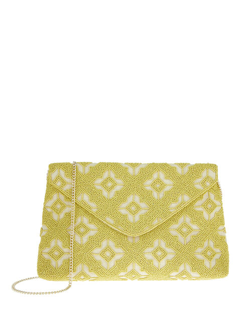 Beaded Oversized Envelope Clutch Bag, Green (LIME), large